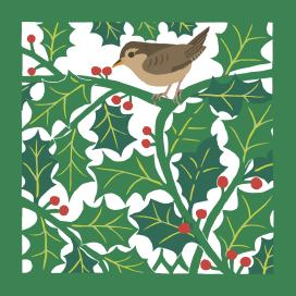 A Wren in a Holly Hedgerow